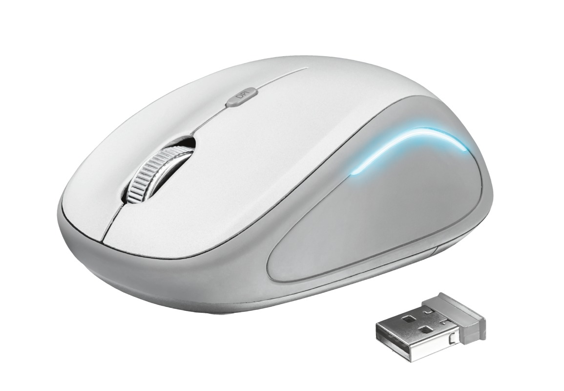 Trust YVI FX WIRELESS MOUSE WHITE Muis